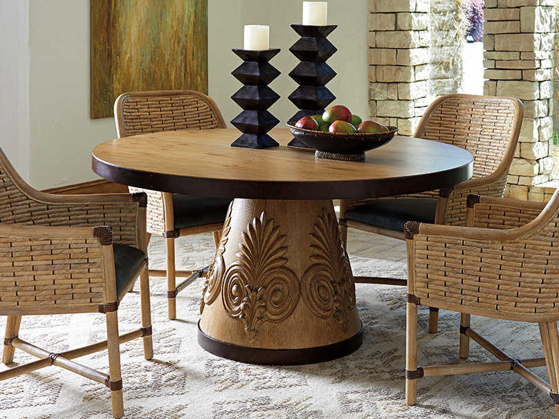 Tommy Bahama Los Atlos Rattan Banana Leaf / Ellerston 60\'\' Wide Round  Dining Table
