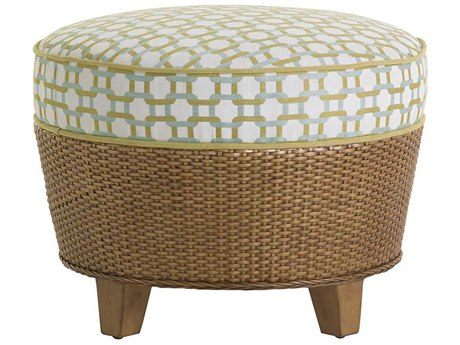 Tommy Bahama Twin Palms Lago Mar Semi-Attached Top Rattan Ottoman TO194744