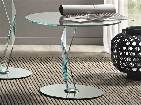 Tonelli Bakkarat Round Extraclear Glass Pedestal Table TONBAKKARAT
