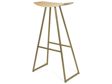 Tronk Design Brassy Gold Side Bar Height Stool TROROBMPLBARNOINLGD