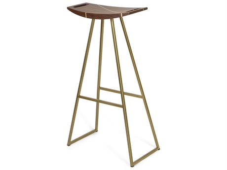 Tronk Design Brassy Gold Side Bar Height Stool