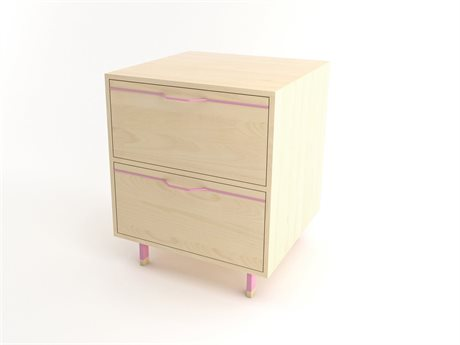 Tronk Design Chapman Storage Collection Pink Rectangular 2 Drawers Nightstand