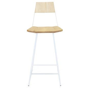 Tronk Design Clarke Collection White Side Bar Height Stool