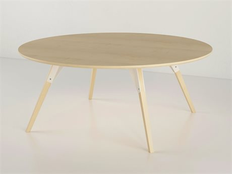 Tronk Design Clarke Collection White 46'' Wide Round Coffee Table
