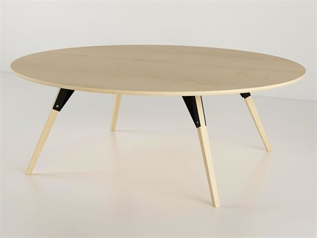 Tronk Design Clarke Collection Black 54'' Wide Oval Coffee Table
