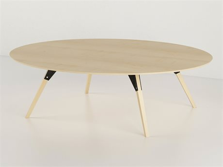 Tronk Design Clarke Collection Black 46'' Wide Oval Coffee Table