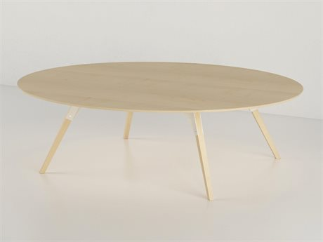 Tronk Design Clarke Collection White 46'' Wide Oval Coffee Table