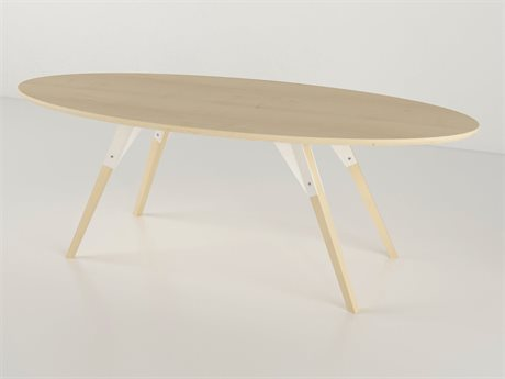 Tronk Design Clarke Collection White 54'' Wide Oval Coffee Table
