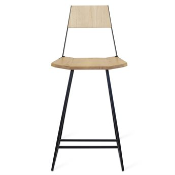 Tronk Design Clarke Collection Black Side Counter Height Stool
