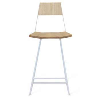 Tronk Design Clarke Collection White Side Counter Height Stool