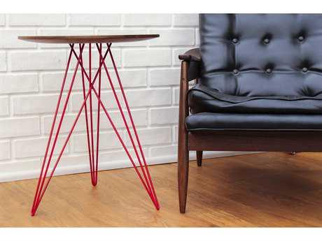 Tronk Design Hudson Walnut Round End Table TROHUDWALNOINLRD