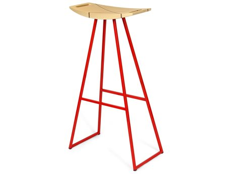 Tronk Design Robert Maple Red Side Bar Height Stool TROROBMPLBARINLRD