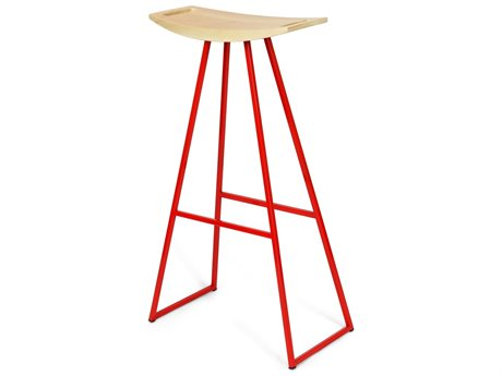 Tronk Design Robert Maple Red Side Bar Height Stool TROROBMPLBARNOINLRD