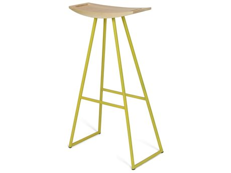 Tronk Design Robert Maple Yellow Side Bar Height Stool TROROBMPLBARNOINLYL
