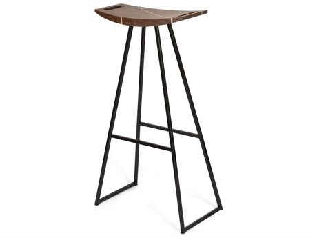 Tronk Design Robert Walnut Black Side Bar Height Stool