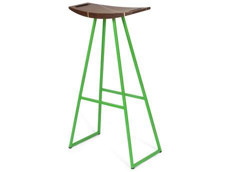 Tronk Design Robert Walnut Green Side Bar Height Stool TROROBWALBARINLGN