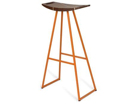 Tronk Design Robert Walnut Orange Side Bar Height Stool TROROBWALBARINLOR