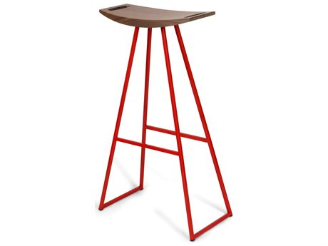 Tronk Design Robert Walnut Red Side Bar Height Stool TROROBWALBARNOINLRD