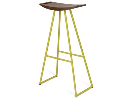 Tronk Design Robert Walnut Yellow Side Bar Height Stool TROROBWALBARNOINLYL