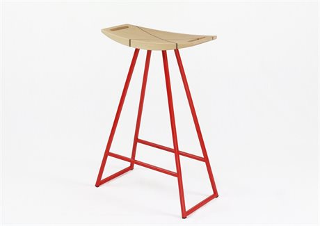 Tronk Design Robert Maple Red Side Counter Height Stool TROROBMPLCTRINLRD