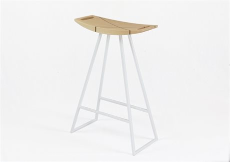Tronk Design Robert Maple White Side Counter Height Stool
