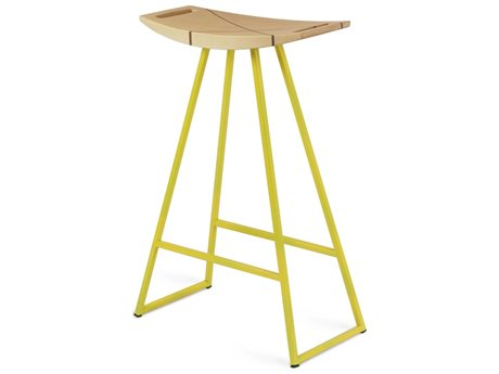 Tronk Design Robert Maple Yellow Side Counter Height Stool TROROBMPLCTRINLYL
