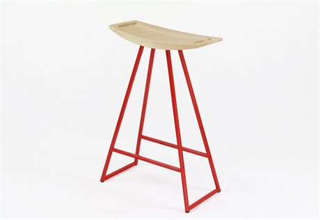 Tronk Design Robert Maple Red Side Counter Height Stool TROROBMPLCTRNOINLRD