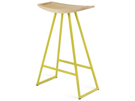 Tronk Design Robert Maple Yellow Side Counter Height Stool TROROBMPLCTRNOINLYL