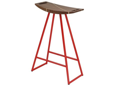 Tronk Design Robert Walnut Red Side Counter Height Stool TROROBWALCTRINLRD