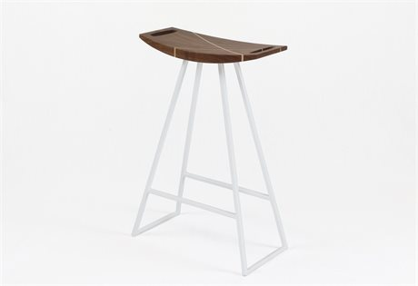 Tronk Design Robert Walnut White Side Counter Height Stool TROROBWALCTRINLWH