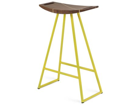 Tronk Design Robert Walnut Yellow Side Counter Height Stool TROROBWALCTRINLYL