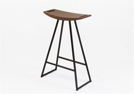 Tronk Design Robert Walnut Black Side Counter Height Stool TROROBWALCTRNOINLBL