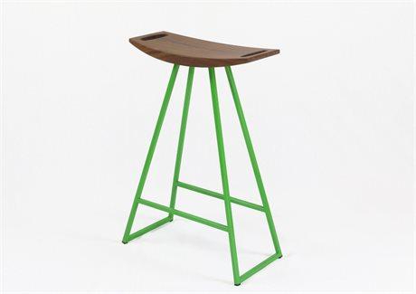 Tronk Design Robert Walnut Green Side Counter Height Stool TROROBWALCTRNOINLGN