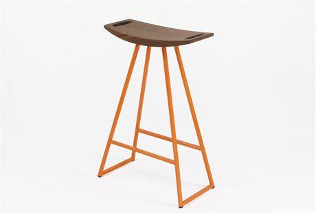 Tronk Design Robert Walnut Orange Side Counter Height Stool TROROBWALCTRNOINLOR