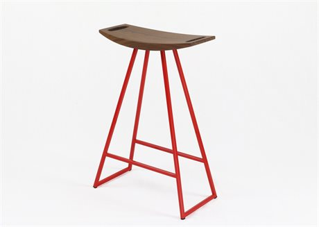 Tronk Design Robert Walnut Red Side Counter Height Stool TROROBWALCTRNOINLRD