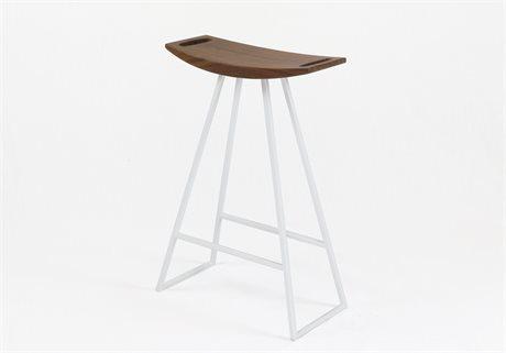 Tronk Design Robert Walnut White Side Counter Height Stool TROROBWALCTRNOINLWH