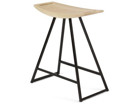 Tronk Design Robert Maple Black Side Table Height Stool TROROBMPLTBLNOINLBL