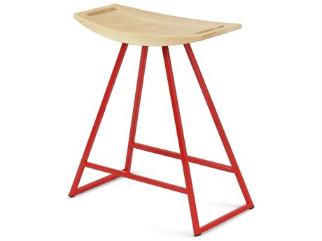 Tronk Design Robert Maple Red Side Table Height Stool TROROBMPLTBLNOINLRD
