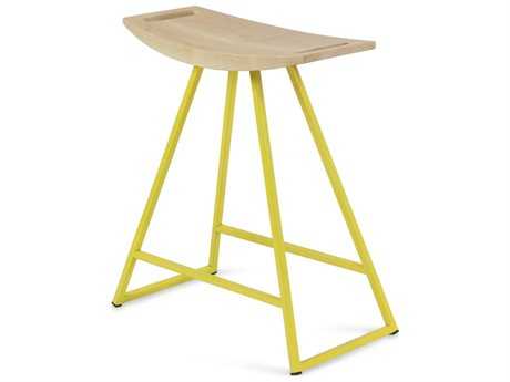 Tronk Design Robert Maple Yellow Side Table Height Stool TROROBMPLTBLNOINLYL