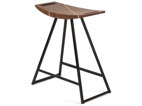 Tronk Design Robert Walnut Black Side Table Height Stool TROROBWALTBLINLBL