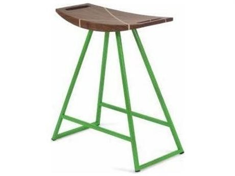 Tronk Design Robert Walnut Green Side Table Height Stool TROROBWALTBLINLGN
