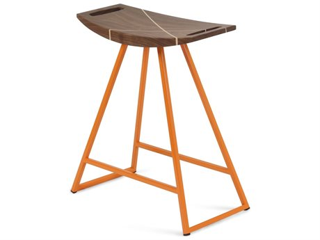 Tronk Design Robert Walnut Orange Side Table Height Stool TROROBWALTBLINLOR