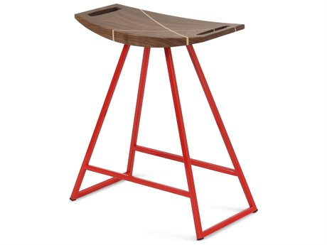 Tronk Design Robert Walnut Red Side Table Height Stool TROROBWALTBLINLRD