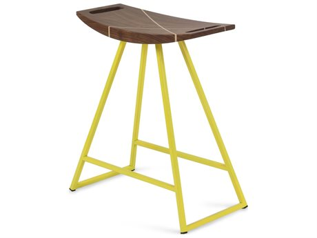 Tronk Design Robert Walnut Yellow Side Table Height Stool TROROBWALTBLINLYL