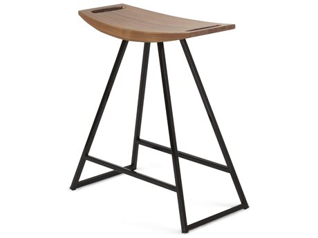 Tronk Design Robert Walnut Black Side Table Height Stool TROROBWALTBLNOINLBL