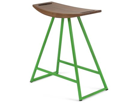 Tronk Design Robert Walnut Green Side Table Height Stool TROROBWALTBLNOINLGN