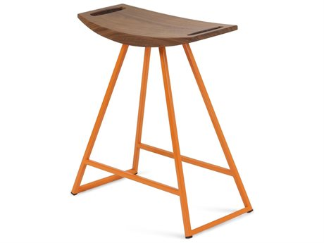 Tronk Design Robert Walnut Orange Side Table Height Stool TROROBWALTBLNOINLOR