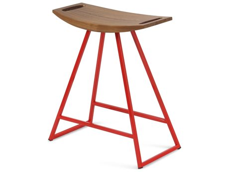 Tronk Design Robert Walnut Red Side Table Height Stool TROROBWALTBLNOINLRD
