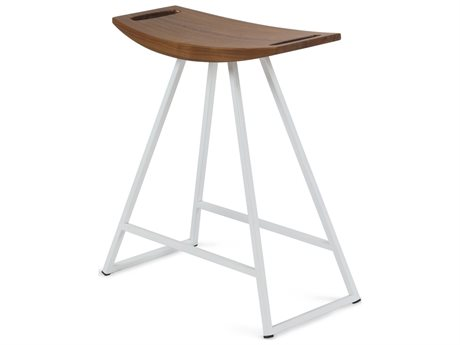 Tronk Design Robert Walnut White Side Table Height Stool TROROBWALTBLNOINLWH
