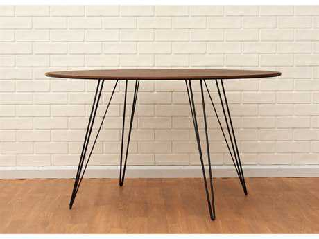 Tronk Design Williams Walnut 54L x 46 Wide Oval Dining Table TROWILDINWALLGOVLBL